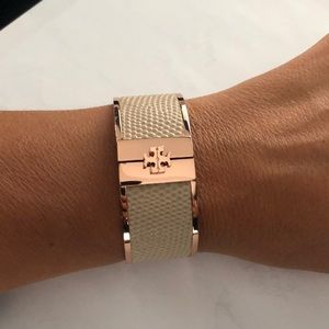 Tory Burch rose gold leather bracelet